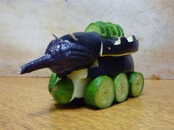 Поделки танк из овощей