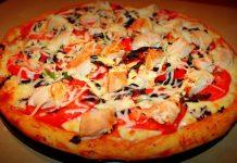 Пицца с курицей и базиликом